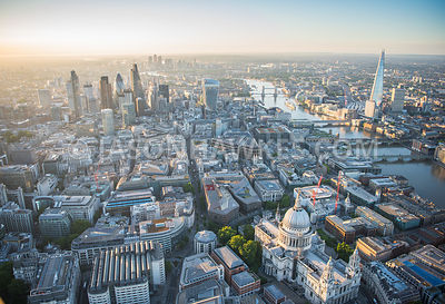 Aerial view of St Paul's Cathedral, One New Change, Cheapside, Gresham Street, City of London, Square Mile, London.