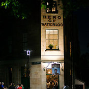 Entrance of the Hero of Waterloo at night in The Rocks area, Sydney, New South Wales, Australia