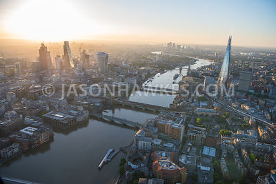 Aerial view of London at sunrise.