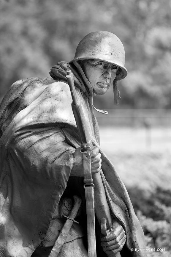 KOREAN WAR VETERANS MEMORIAL WASHINGTON DC BLACK AND WHITE VERTICAL