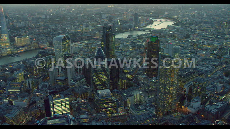 Aerial footage of the City of London, London. Swiss Re Tower. Leadenhall Building, Heron Tower, 20 Fenchurch St. The Square Mile. Shot in 5K.