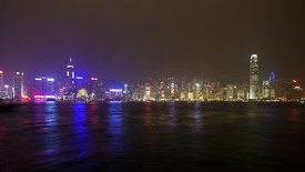 Wide Shot: Lasers & Boats, Busy Kowloon Waterfront