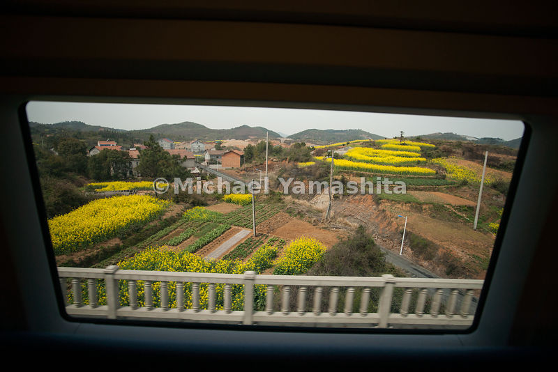 Guangzhou to Wuhan high speed bullet train capable of speeds up to 380km/hr. operating since January, 2010 Does the trip in 3hrs, 16min. 78million passengers/year. Normal trains take 12hrs. Technology from Siemens, Germany. Pics enroute to Guangzhou and Wuhan Station