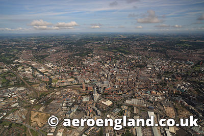 aerial photograph of  Leeds Yorkshire England UK