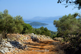 View from Meghas Birnos Hill near Spartohori to the island skorpios and the mainland,  Ionian Islands,  Greece.
