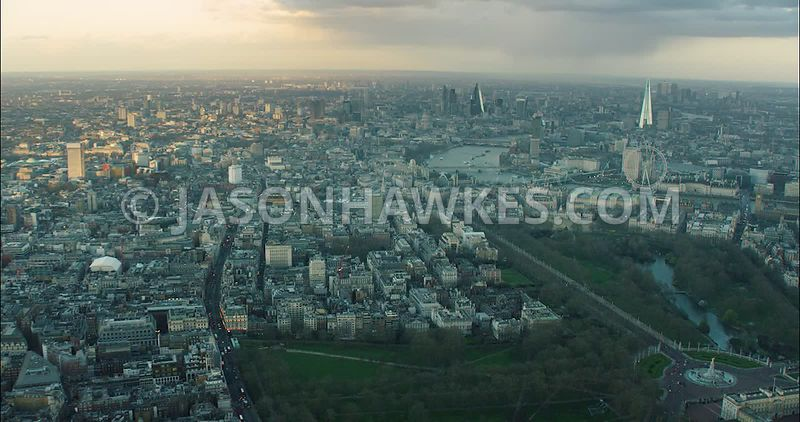 London Aerial Footage of St James's with St James's Park and St James's Palace.