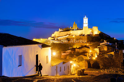 The medieval walled village of Monsaraz at twilight. Alentejo, Portugal (MR)