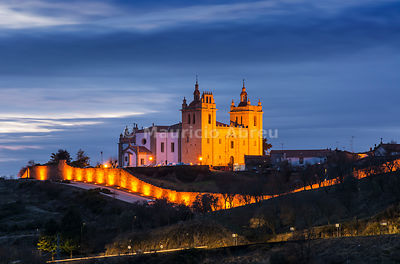 The Cathedral of the walled city of Miranda do Douro at dusk. Tras-os-Montes, Portugal