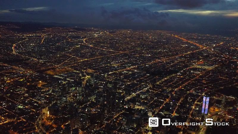Drone Video Night View Sprawling City of Bogota Colombia