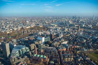 Aerial view of London, Cardinal Place with St James's Park and River Thames.