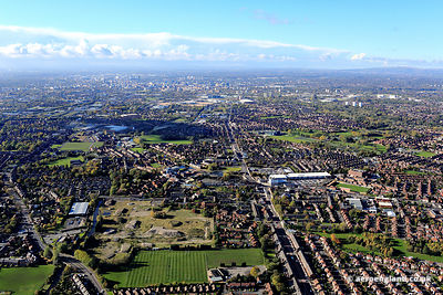 aerial photograph ofDroylsden  East Manchester looking towards Beswick  and the city centre   along Manchester Road, Droylsden M43 6EP