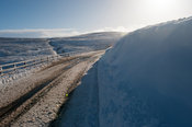 Roads high in the Yorkshire Dales in very wintery conditions. Yorkshire, UK