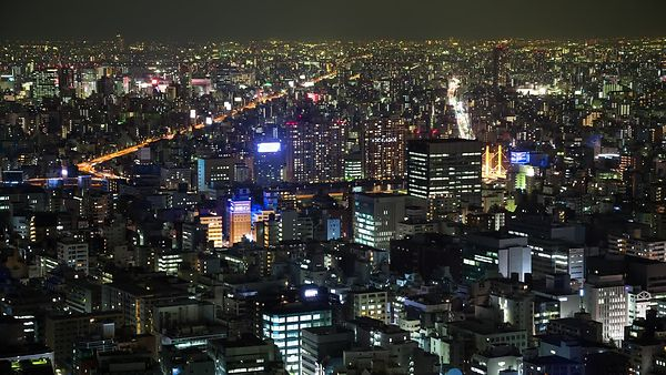 Bird's Eye: Flickering Mid-Rises, High-Rises, & Highways in Tokyo at Night