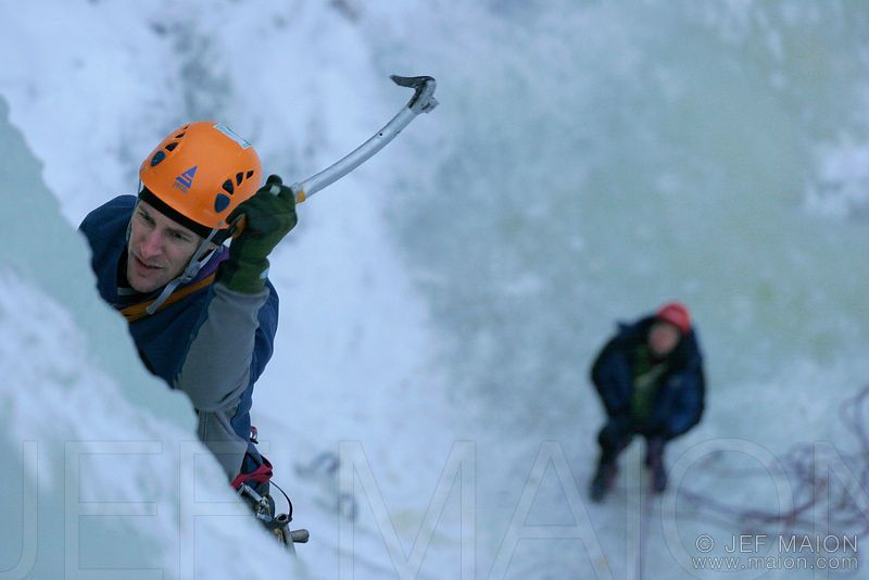 Ice climber and belayer