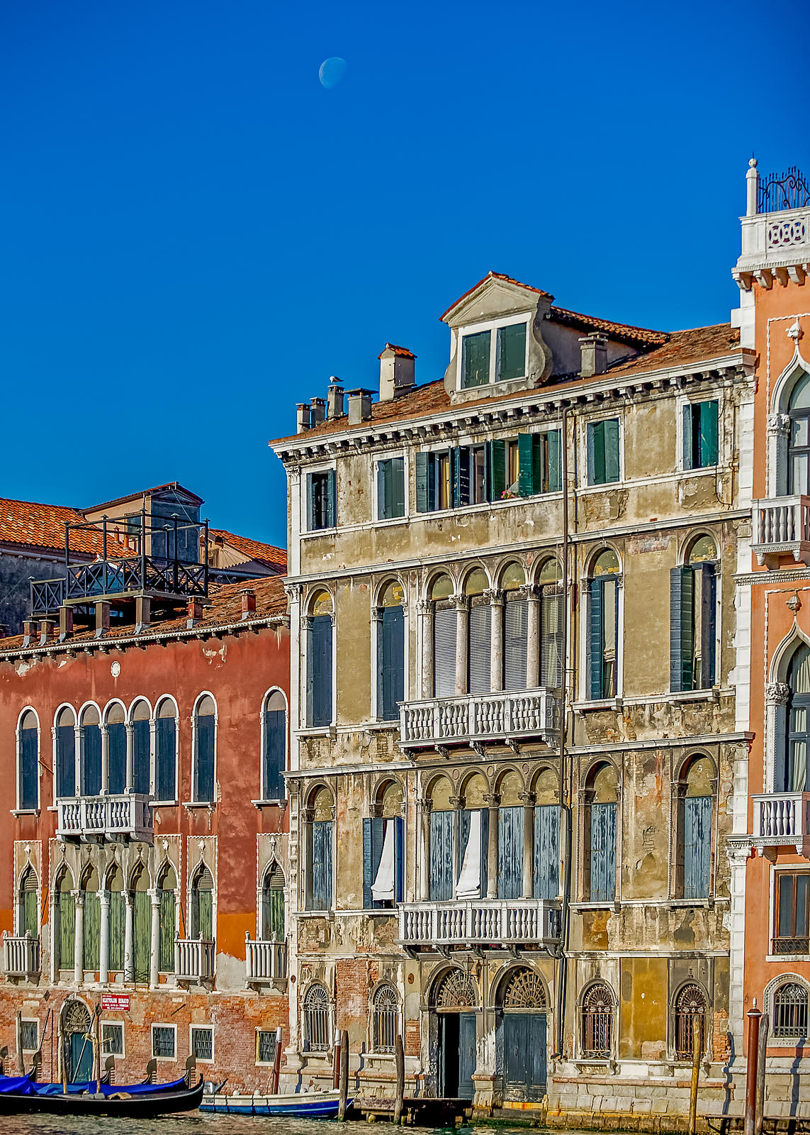 Palazzo on the Grand Canal, Venice, with the Moon in Daytime