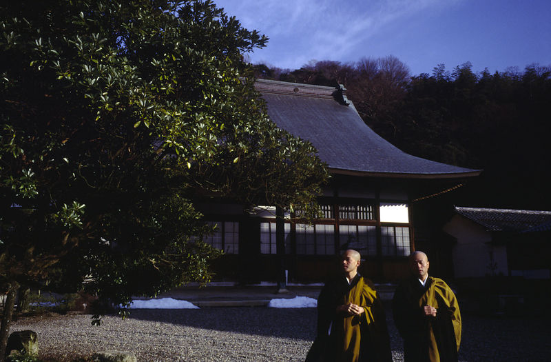Japan - Hikone - Two Buddhist monks walk in the grounds of the Seiryu-ji Temple after meditation