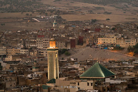 An evening view of the Zaouia de Moulay Idriss in Fes, Morocco.