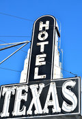 Ft. Worth Stock Photos: Hotel Texas sign in the Fort Worth Stockyards