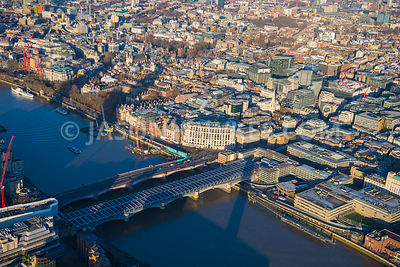 Aerial view of London, Blackfriars towards Temple with Unilever House.