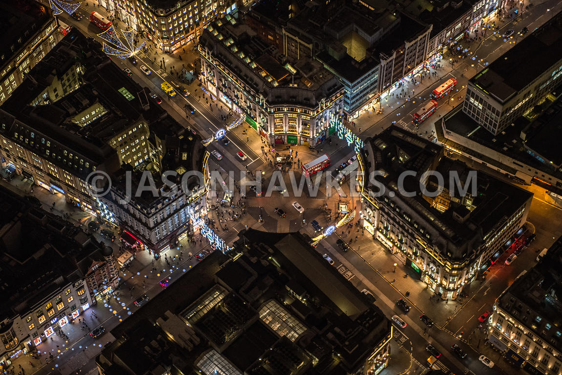 Night aerial view of Oxford Circus, London