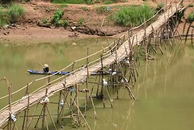 Temporary Bamboo Bridge Luang Prabang