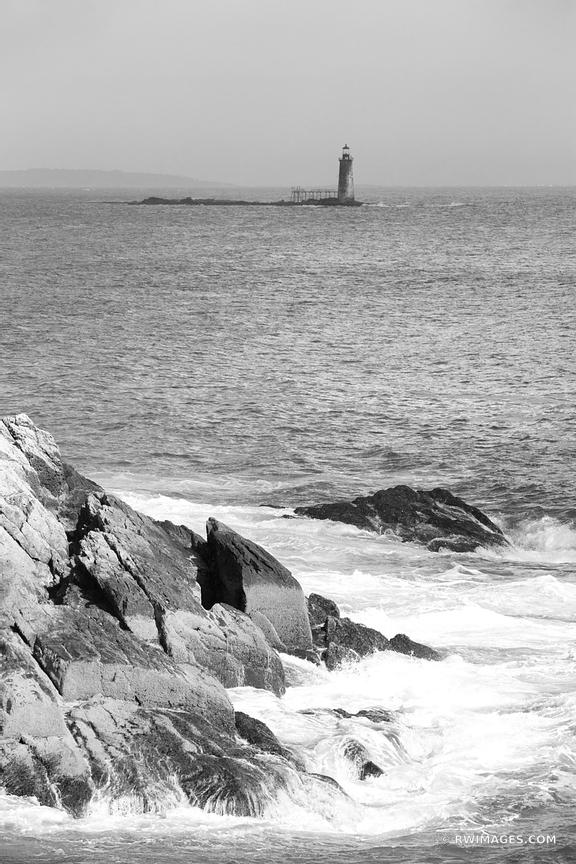 LIGHTHOUSE NEAR PORTLAND MAINE BLACK AND WHITE