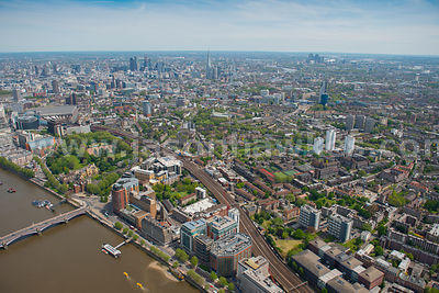 Aerial view of Lambeth and the river Thames, London