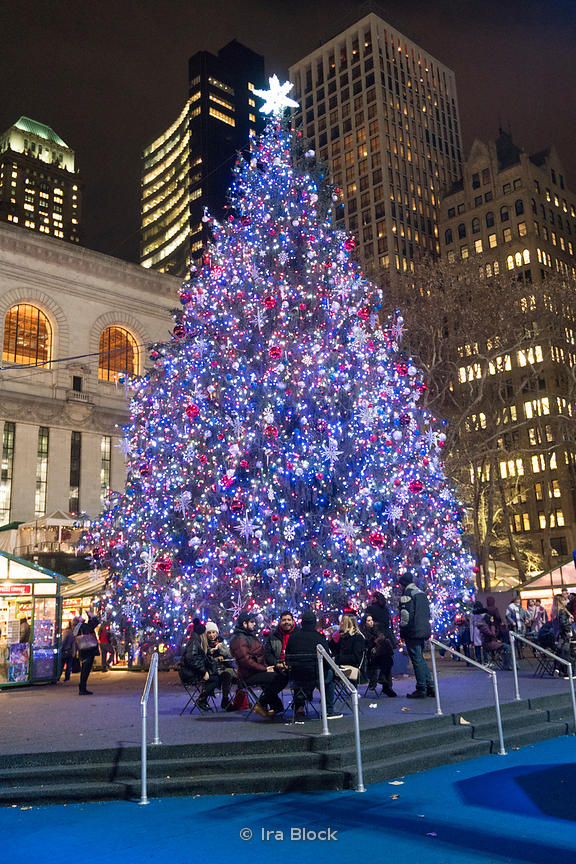 The Christmas Tree at the Bryant Park Winter Village in Manhattan, New York City