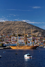 Three masted wooden sailing ship, Village of Emborio, Chalki Island near Rhodes, Dodecanese Islands, Greece.