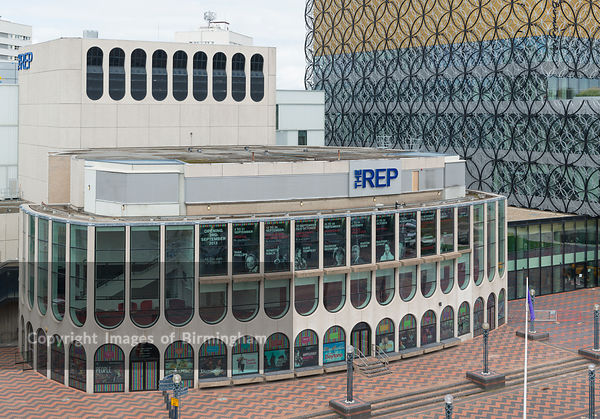 The new Library of Birmingham and the Rep Theatre, in Centenary Square, Birmingham, England