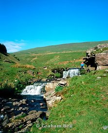 waterfalls and walker pont ar daf storey arms brecon beacons national park wales uk