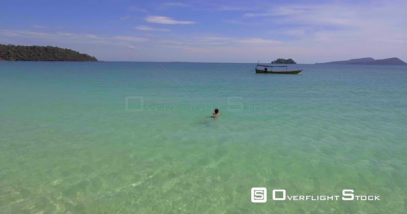 Woman Swimming on Beach Tropical Paradise of Koh Rong Cambodia