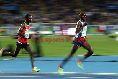 RIO DE JANEIRO, Brazil, AUGUST 13.# ATHLETICS. Mo Farah wins the 10,000m gold medal! Paul Tanui of Kenya second in 27:05.64, and Tamirat Tola of Ethiopia third in 27:06.26.MPhotos angelos zymaras