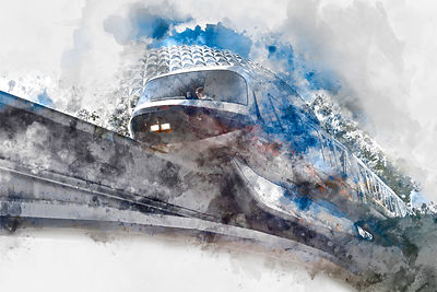 Monorail Black Watercolor