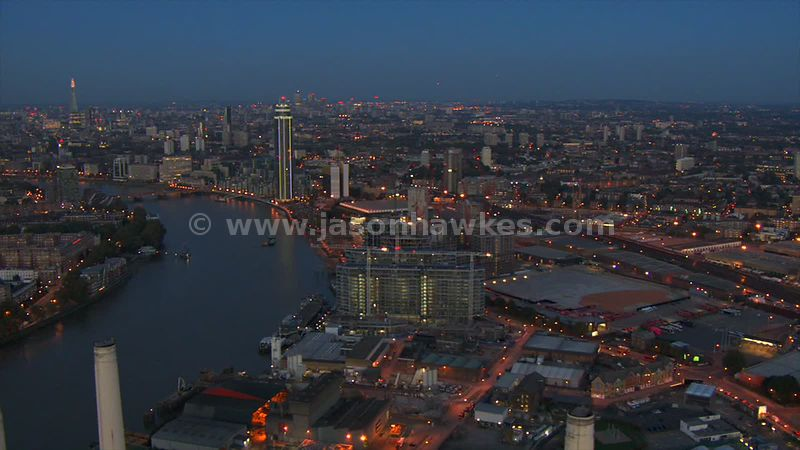 Aerial footage of the regeneration at Nine Elms