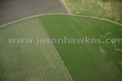 Aerial view of crop fields, Tierra de Pinares, Spain