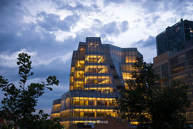 The evening light on the Frank Gehry designed IAC Building, viewed from New York City's Highline.