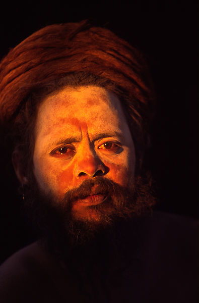 India - Allahbad - A saddhu at this camp at the Ardh Kumbh Mela 1995, Allahbad, India