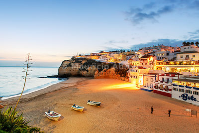 The beach of Carvoeiro at dusk. Algarve, Portugal