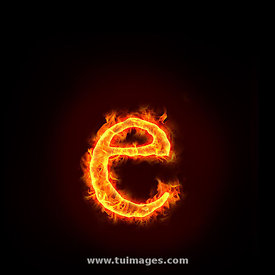 fire alphabets, small letter e