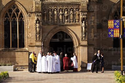 Cerics and other staff Gather Outside Leicester Cathedral in Preparation for the Arrival of the Richard III Cortege