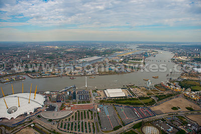 London. Aerial view of the Greenwich peninsula