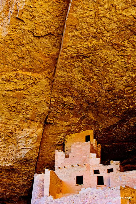 RUINS OF CLIFF PALACE DWELLINGS MESA VERDE NATIONAL PARK COLORADO VERTICAL COLOR