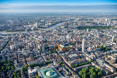Aerial view of London, St Giles and Centre Point.