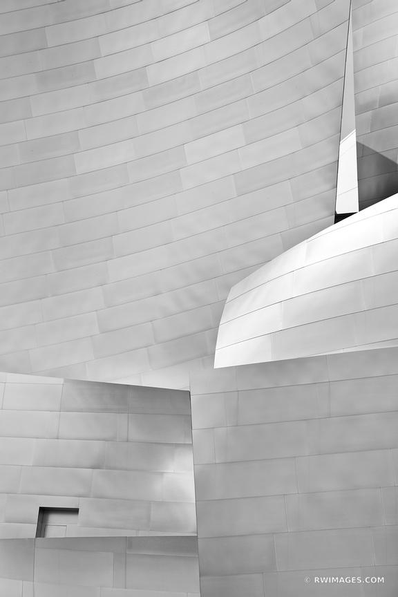 FRANK GEHRY ARCHITECTURE WALT DISNEY CONCERT HALL DOWNTOWN LOS ANGELES CALIFORNIA BLACK AND WHITE VERTICAL