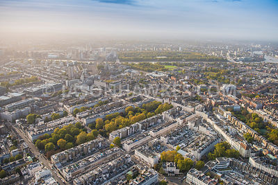 Aerial view of Belgravia, from Belgrave Square towards Chelsea with Cadogan Place.