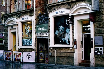 Cafe 31 and The Beatles Shop in Mathew Street Liverpool
