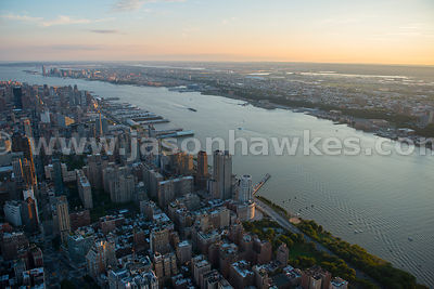 Aerial view of Upper West Side and the Hudson River, Manhattan