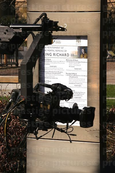 SIgn Outside Leicester Cathedral Showing Richard III Celebrations with a TV Camera Jib in the Foreground