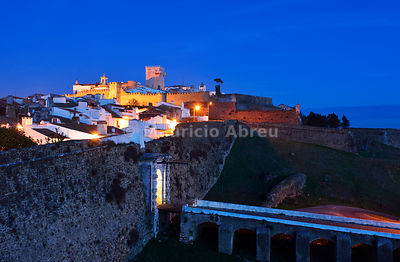 The walled city of Estremoz at dusk. Alentejo, Portugal
